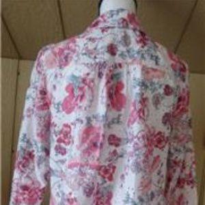Charter Club Tops - Charter Club Women's Floral Print Eyelet  Shirt, S